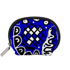 Blue High Art Abstraction Accessory Pouches (small)  by Valentinaart
