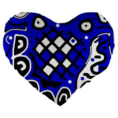 Blue High Art Abstraction Large 19  Premium Flano Heart Shape Cushions by Valentinaart