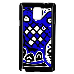 Blue High Art Abstraction Samsung Galaxy Note 4 Case (black) by Valentinaart