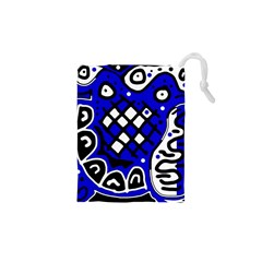 Blue High Art Abstraction Drawstring Pouches (xs)  by Valentinaart
