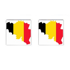 Belgium Flag Map Cufflinks (square) by abbeyz71