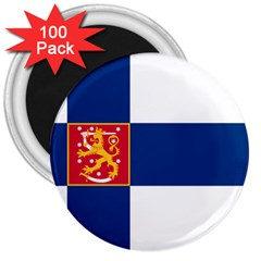 State Flag Of Finland  3  Magnets (100 Pack) by abbeyz71