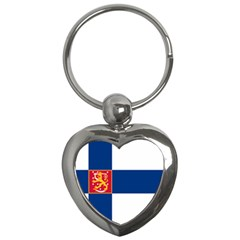 State Flag Of Finland  Key Chains (heart)