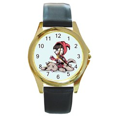Bad Bitch Red Round Gold Metal Watch by lvbart