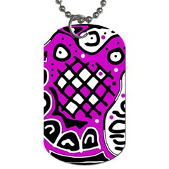 Magenta High Art Abstraction Dog Tag (one Side) by Valentinaart