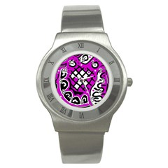 Magenta High Art Abstraction Stainless Steel Watch by Valentinaart