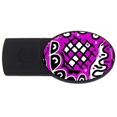 Magenta High Art Abstraction Usb Flash Drive Oval (4 Gb)  by Valentinaart