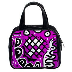 Magenta High Art Abstraction Classic Handbags (2 Sides) by Valentinaart