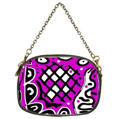 Magenta High Art Abstraction Chain Purses (one Side)  by Valentinaart