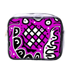 Magenta High Art Abstraction Mini Toiletries Bags by Valentinaart