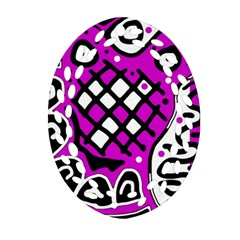Magenta High Art Abstraction Ornament (oval Filigree)  by Valentinaart