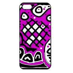 Magenta High Art Abstraction Apple Iphone 5 Seamless Case (black) by Valentinaart