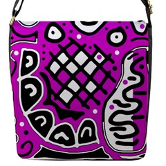 Magenta High Art Abstraction Flap Messenger Bag (s)
