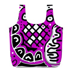 Magenta High Art Abstraction Full Print Recycle Bags (l)  by Valentinaart