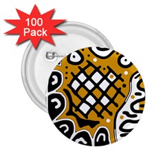 Yellow High Art Abstraction 2 25  Buttons (100 Pack)  by Valentinaart