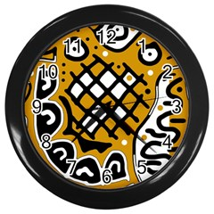 Yellow High Art Abstraction Wall Clocks (black) by Valentinaart