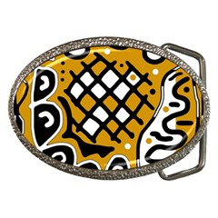 Yellow High Art Abstraction Belt Buckles by Valentinaart
