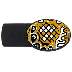 Yellow High Art Abstraction Usb Flash Drive Oval (2 Gb)  by Valentinaart