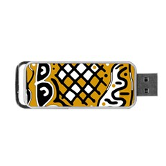 Yellow High Art Abstraction Portable Usb Flash (one Side) by Valentinaart