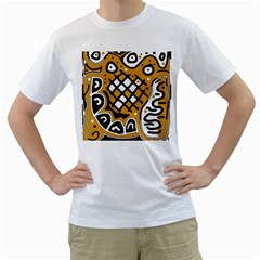 Yellow High Art Abstraction Men s T Shirt (white)  by Valentinaart