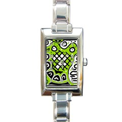 Green High Art Abstraction Rectangle Italian Charm Watch by Valentinaart