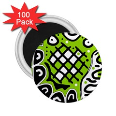 Green High Art Abstraction 2 25  Magnets (100 Pack)  by Valentinaart