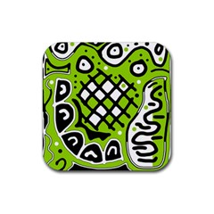 Green High Art Abstraction Rubber Coaster (square)  by Valentinaart