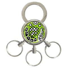 Green High Art Abstraction 3 Ring Key Chains by Valentinaart