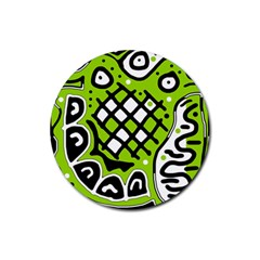 Green High Art Abstraction Rubber Coaster (round)  by Valentinaart