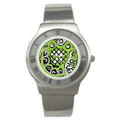 Green High Art Abstraction Stainless Steel Watch by Valentinaart