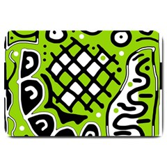 Green High Art Abstraction Large Doormat  by Valentinaart