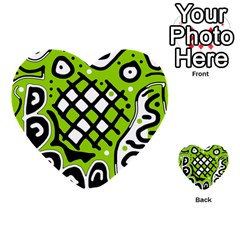 Green High Art Abstraction Multi Purpose Cards (heart)  by Valentinaart