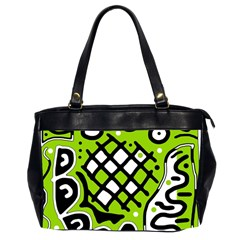 Green High Art Abstraction Office Handbags (2 Sides)  by Valentinaart
