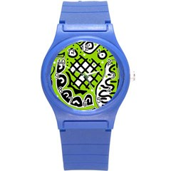 Green High Art Abstraction Round Plastic Sport Watch (s) by Valentinaart