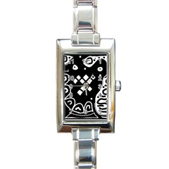 Black And White High Art Abstraction Rectangle Italian Charm Watch by Valentinaart
