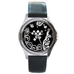 Black And White High Art Abstraction Round Metal Watch by Valentinaart