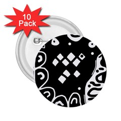 Black And White High Art Abstraction 2 25  Buttons (10 Pack)  by Valentinaart