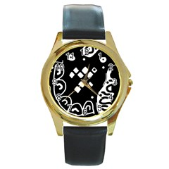 Black And White High Art Abstraction Round Gold Metal Watch by Valentinaart