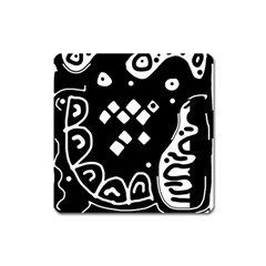 Black And White High Art Abstraction Square Magnet by Valentinaart