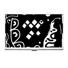 Black And White High Art Abstraction Business Card Holders by Valentinaart