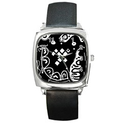 Black And White High Art Abstraction Square Metal Watch by Valentinaart
