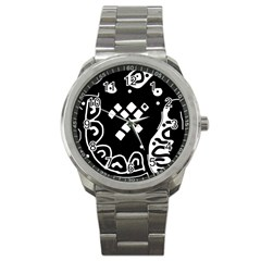 Black And White High Art Abstraction Sport Metal Watch by Valentinaart