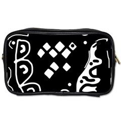 Black And White High Art Abstraction Toiletries Bags 2 Side by Valentinaart