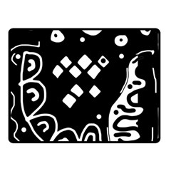 Black And White High Art Abstraction Double Sided Fleece Blanket (small)  by Valentinaart