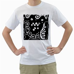 Black And White High Art Abstraction Men s T Shirt (white) (two Sided) by Valentinaart