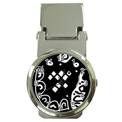 Black And White High Art Abstraction Money Clip Watches by Valentinaart