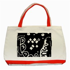 Black And White High Art Abstraction Classic Tote Bag (red) by Valentinaart