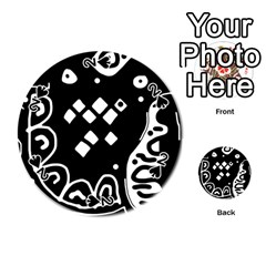 Black And White High Art Abstraction Playing Cards 54 (round)  by Valentinaart