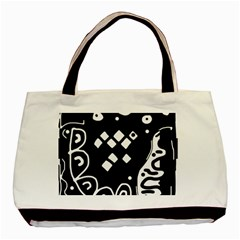 Black And White High Art Abstraction Basic Tote Bag (two Sides) by Valentinaart