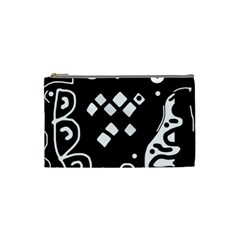 Black And White High Art Abstraction Cosmetic Bag (small)  by Valentinaart